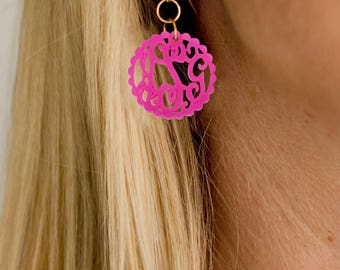Monogrammed Earrings, Acrylic Monogram Earrings, Personalize Earring, Custom Monogram Earrings, Mint & Pink Colors, Gold Or Silver Ear Wires