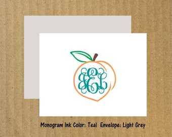 Peach Note Cards, Set of 10, Peach Monogram Note Cards, Georgia Peach, Peach Monogram, Thank You Cards, Monogram Thank You Cards, Peach