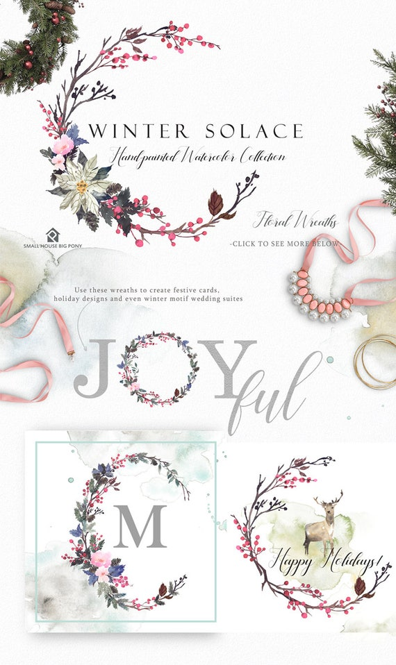 Digital Clipart- Watercolor Flower Clipart, flower wreath - Winter Solace Flower Wreaths