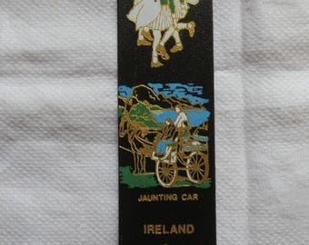 Vintage 1980's Black Leather IRELAND Bookmark with Shamrock and Jaaunting Car Design