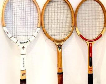 Vintage Tennis Rackets Set of Three