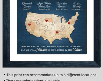 Grandparents Gift Personalized Map Christmas Gift From Grandkids Long Distance Grandparents Gift Grandma and Grandpa Gift Grandparents Map