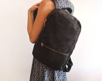 MILAN BACKPACK - Black Backpack / Women's backpack - vegan bag / School backpack - faux suede backpack / fabric bag