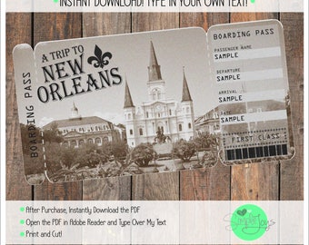 Printable Ticket to New Orleans Boarding Pass, Customizable Template, Digital File - You Fill and Print