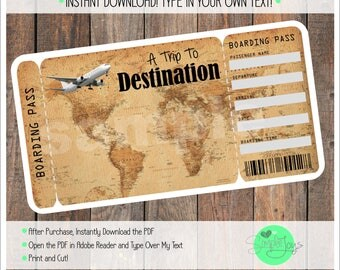 Printable Vacation Surprise Ticket Boarding Pass - Vintage Map, Template, Digital PDF File - You Fill and Print