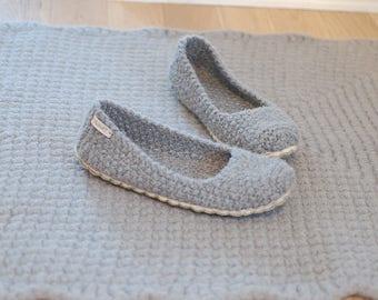 Slipper socks wool felt soles - Knit boiled wool slippers - Gray wool slippers flats