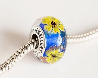 Artisan Lampwork Flower bead. Silver core bead. Large hole bead, Fits Pandora. European Bracelet beads. European charm. Murano glass beads