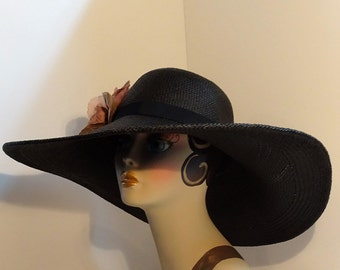 "Panama Straw Hat Woman's 6""Brim Black Kentucky Derby Hat Garden Party Hat Fine Straw Wedding Hat Resort Hat"