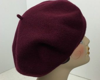 Beret Wool Woman's Burgundy French Garbo Dietrich 1930's Look Hats Tams
