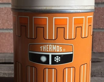 ON CLEARANCE - Vintage Thermos Bottle, Glass Interior, Orange and Beige, 1970s Thermos Brand Bottle No. 6063