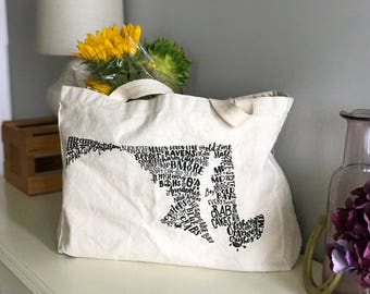 "MD in Type Tote Bag - Canvas Bag - 15"" x 12"" x 4"""