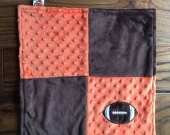 Cleveland Browns Football Baby - Cleveland Browns Baby Gift - Browns Baby Blanket - Tag Lovey Blanket - Brown and Orange - Baby Shower Gift