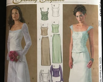 McCalls M4298 - Evening Elegance Scoop Neck Top with Princess Seams and Straight or Flared Skirt - Size 12 14 16 18