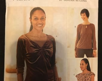 Butterick 3438 - Today's Fit by Sanda Betzina Pullover Top with Bodice Gather and Keyhole Neckline Options - Size DEF Bust 38 40.5 43