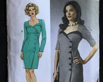 Butterick B5953 - Asymmetrical Fitted Wrap Dress with Button Front and Sweetheart Neckline - Size 14 16 18 20 22