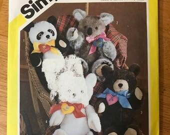 """Simplicity 6142 - 1980s Four Chic Bears including Polar Bear, Teddy Bear, Panda Bear, and Koala Plush Toys - Approx 16"""" Tall"""
