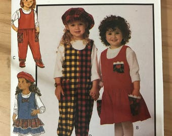 Butterick 6929 - B Line Girl's Fast and Easy Jumper or Jumpsuit and Top - Size 2 3 4