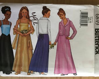 Butterick 6849 - Girl's Special Occasion Cardigan with Faux Fur Collar, Sleeveless Top, Maxi A-Line Skirt, and Stole - Size 7 8 10