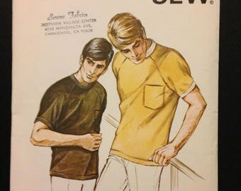 Kwik Sew 143 1960s or 70s Mens Raglan Sleeve Stretch Knit Casual Top with Ribbed Collar and Pocket - Size S M L XL