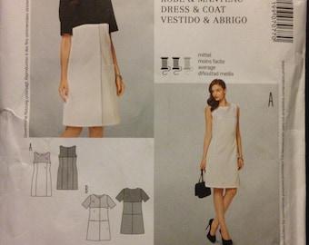 Burda 7077 - Spring Summer Sheath Dress with Short Sleeve Coat Contrast Fabric - Size 10 12 14 16 18 20 22