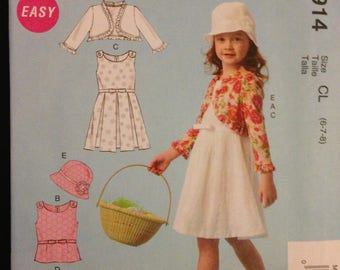 McCalls M6914 Easy Girl's Dress, Top, Skirt and Bolero Jacket with Bucket Hat or Cloche - Size 6 7 8