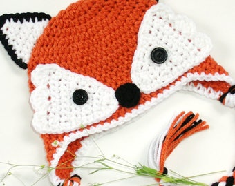 Knitted red fox cap, crocheted kitsune hat, forest animal beanie for kids teens and adults