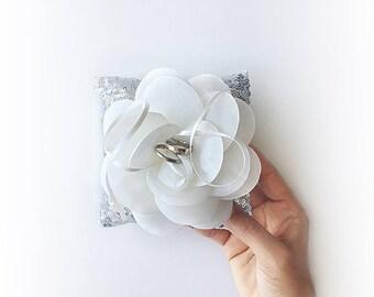 EXPRESS SHIPPING, Wedding Ring Bearer Pillow, Silver Sequin Pillow, White Organza Flower, Silver Wedding Pillow, Sequin Pillow, Boho Wedding