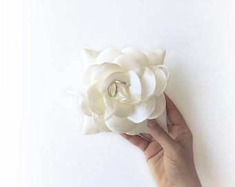 EXPRESS SHIPPING, Wedding Ring Bearer Pillow, Off White Satin Pillow, Satin Flower, Wedding Pillow, Sequin Pillow, Boho Wedding, Cushion
