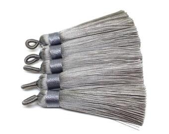 Gray Tassels, tassel earrings, Silk Tassels, 2.5 Inch 65mm Tassel, gray jewelry, tassel necklace, gray necklace, long gray tassel necklace