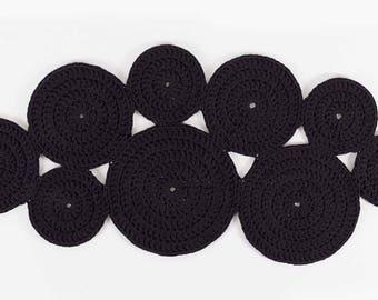 Crochet Circle Rug . Dramatic Black | Crochet Rug | Modern Design | Cotton Carpet | Rug Runner | Handmade Rug | Round Rug
