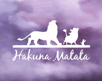 Disney's The Lion King Hakuna Matata (No Worries) Decal for Cars, YETI Cups, Laptops, and More! | Lion King Decal | Disney Car Decal