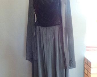 Black velvet and chiffon evening dress and shawl . Vintage Laura Ashley