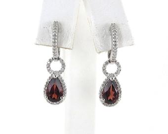 14k White Gold Diamond And Garnet Huggie Earrings - 14k White Gold Gemstones Dangling Earrings