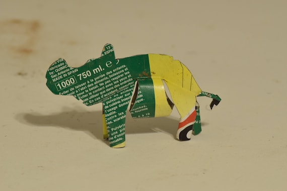 Toy Rhino African Recycle Mulit Color Tin Can Tanzania Handmade Vintage Toy Scorpion Animals Recycled Tin Unique One of a Kind