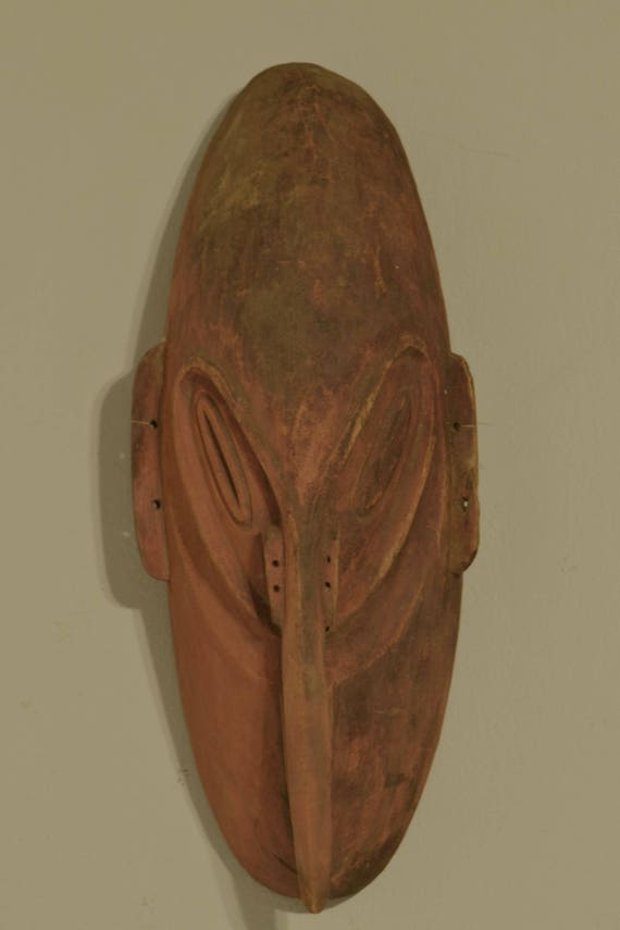 Papua New Guinea Mask Spirit Mask Lower Sepik Provence Red Ceremonial Male Mask