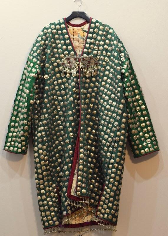 Coat Wedding Middle Eastern Green Silver Pendant Coin Coat Handmade Carnelian Pendants Tribal Wedding Coat
