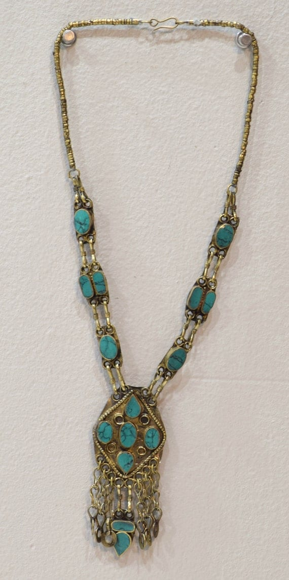 Necklace Middle Eastern Turquoise Stone Necklace Pendant 27.5""