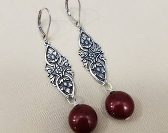 Burgundy Coin Pearl Drops  EE-167
