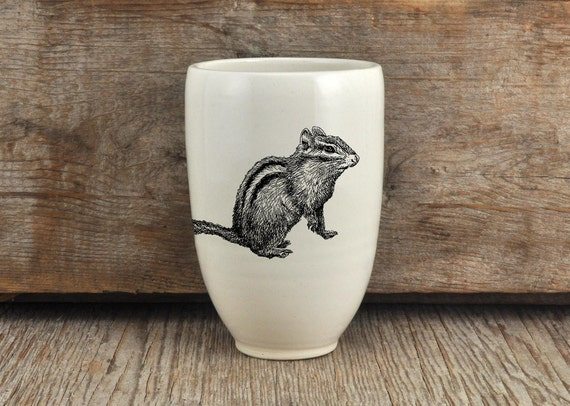 Handmade Porcelain beer tumbler with chipmunk drawing Canadian Wildlife collection