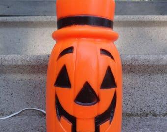 Vintage Halloween Pumpkin Jack o Lantern Light Up Blow Mold Decoration
