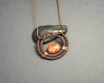 Copper Wire Wrapped Carnelian Necklace