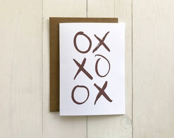Hugs and Kisses XOXO Valentine Card | Brush Lettered 5x7 Greeting Card