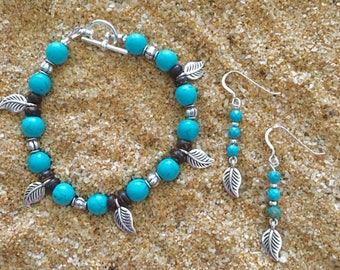 Bohemian Turquoise Magnesite Silver Leaf Jewelry Set