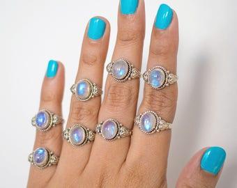 Rainbow Moonstone Ring * Engagement Ring * Boho Rings * Anniversary Gift * Promise Ring * Jewelry Gift * Moonstone Ring * Birthstone Ring