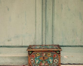 Charming hand painted antique french hope Box -  marriage chest - dowry chest - wedding chest - 19th C