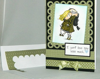 Digital stamp -Best friend Hug.  digistamp. Birthday digi stamp.Sisters stamp.BFFdigital stamp. LiaStampz
