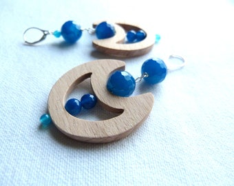 Blue earrings made of wood, natural stones and Silver 925