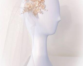 Champagne bridal veil,cap veil,juliet veil,juliet veil,flower veil,