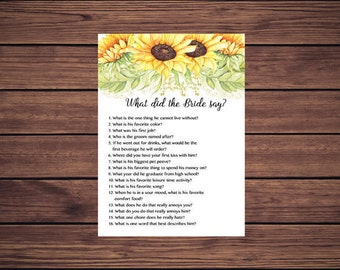 What did the Bride say Shower Game, Sunflowers What did she say about her groom Sunny Sunflowers Instant Download PDF Printable 212