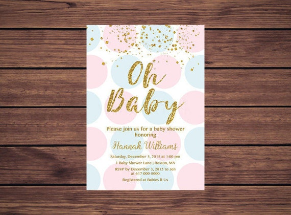 Gender reveal pink blue and gold baby shower baby shower invitation il570xn filmwisefo